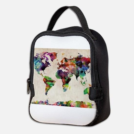 World Map Urban Watercolor 14x1 Neoprene Lunch Bag