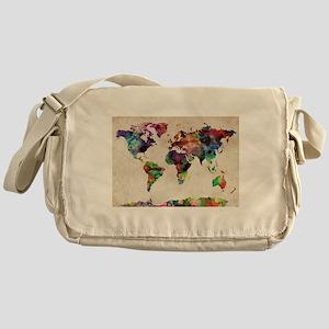 World Map Urban Watercolor 14x10 Messenger Bag