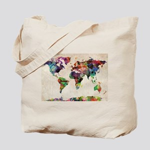 World Map Urban Watercolor 14x10 Tote Bag