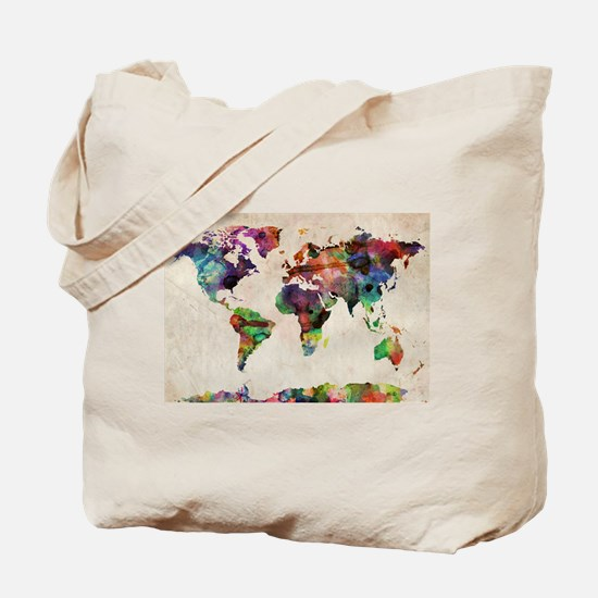 World Map Urban Watercolor 14x10.jpg Tote Bag