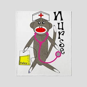 Nurse Sock Monkey NEW 2011 Throw Blanket