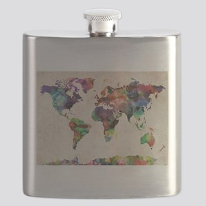 World Map Urban Watercolor 14x10 Flask
