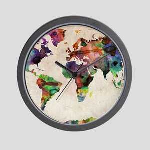 World Map Urban Watercolor 14x10 Wall Clock