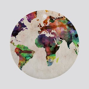 World Map Urban Watercolor 14x10.jp Round Ornament