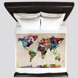 World Map Urban Watercolor 14x10 King Duvet