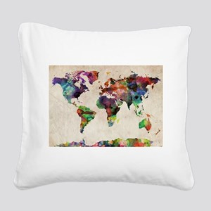 World Map Urban Watercolor 14 Square Canvas Pillow