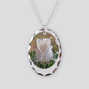 White Rose Gift iPad Hard Case Necklace Oval Charm