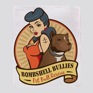 Large Pinup and dog logo NO SHADING Throw Blanket