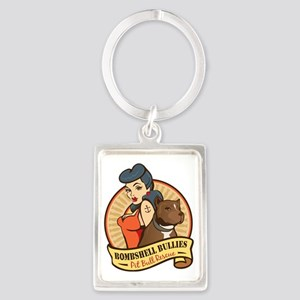 Large Pinup and dog logo NO SHAD Portrait Keychain