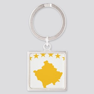 Kosovo Flag Yellow Square Keychain