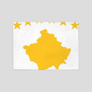 Kosovo Flag Yellow 5'x7'Area Rug