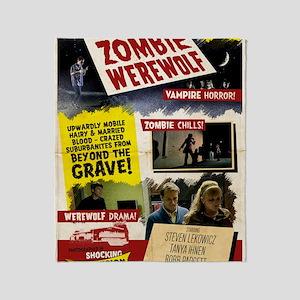 Vampire Zombie Werewolf Vintage Post Throw Blanket