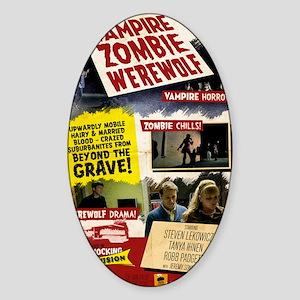 Vampire Zombie Werewolf Vintage Pos Sticker (Oval)
