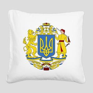 escudo_nacional_de_ucrania_6x Square Canvas Pillow