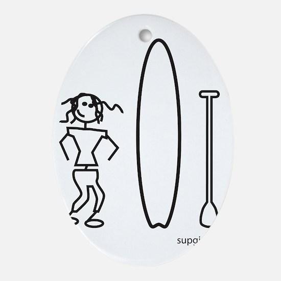 SUPgirl_stick_TS004 Oval Ornament