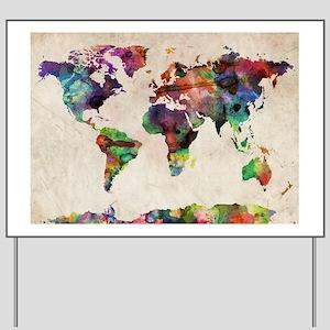 World Map Urban Watercolor 14x10 Yard Sign