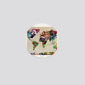 World Map Urban Watercolor 14x10 Mini Button