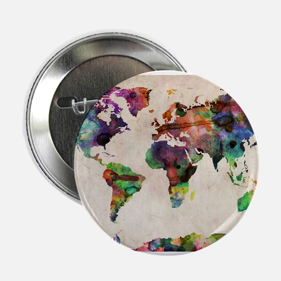"""World Map Urban Watercolor 2.25"""" Button (10 pack)"""