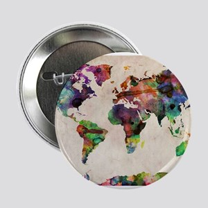 "World Map Urban Watercolor 14x10 2.25"" Button"