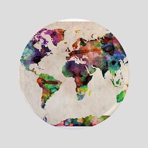 "World Map Urban Watercolor 14x10 3.5"" Button"