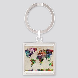World Map Urban Watercolor 14x10 Keychains