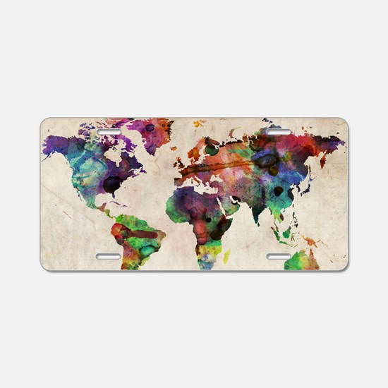 World Map Urban Watercolor Aluminum License Plate