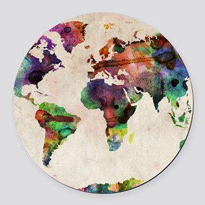 World Map Urban Watercolor 14x10. Round Car Magnet