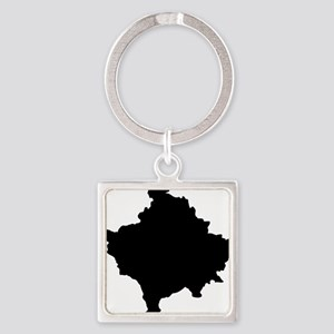 Kosovo Map Black Square Keychain
