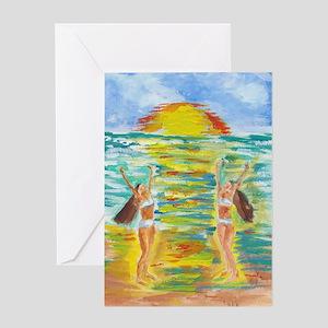 Twins at Beach Greeting Card