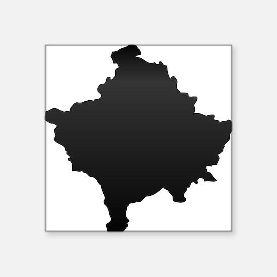"""Kosovo Map Carbon Square Sticker 3"""" x 3"""""""