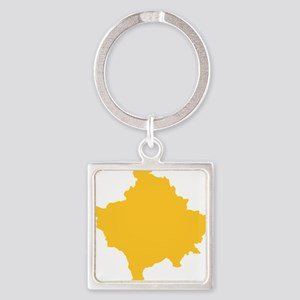 Kosovo Map Yellow Square Keychain