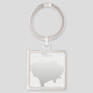 Kosovo Map Silver Square Keychain