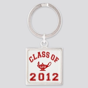 CO2012 LPN Red Distressed Square Keychain