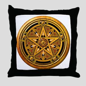 Masculine Gold Pentacle Throw Pillow