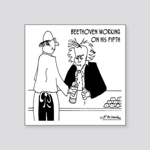 "4256_beethoven_cartoon Square Sticker 3"" x 3"""
