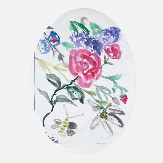 Flowers and Butterfly Oval Ornament