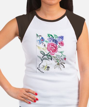 Flowers and Butterfly Women's Cap Sleeve T-Shirt