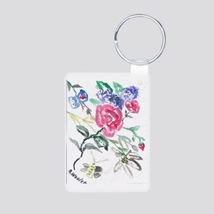 Flowers and Butterfly Aluminum Photo Keychain