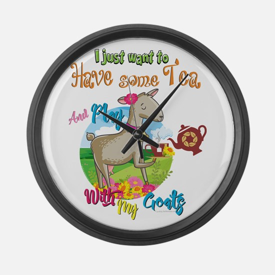 GOAT   Just Want to Have Some Tea Large Wall Clock