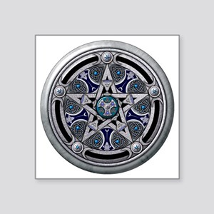 "Feminine Silver Pentacle Square Sticker 3"" x 3"""