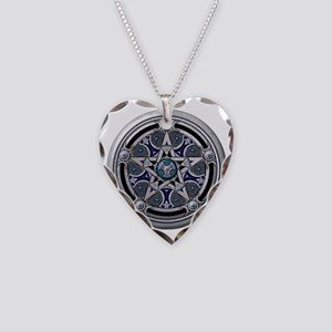 Feminine Silver Pentacle Necklace Heart Charm