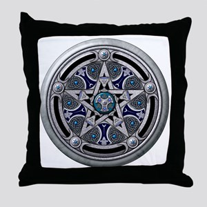 Feminine Silver Pentacle Throw Pillow
