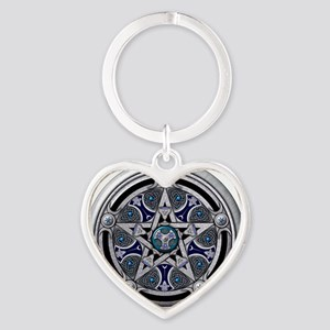 Feminine Silver Pentacle Heart Keychain