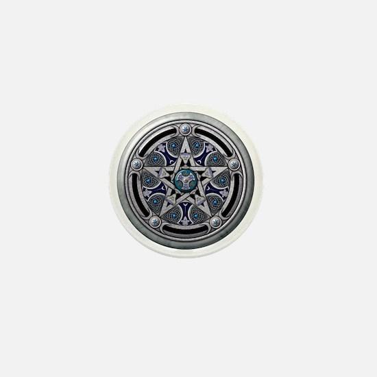Feminine Silver Pentacle Mini Button