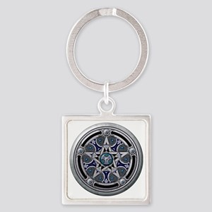 Feminine Silver Pentacle Square Keychain