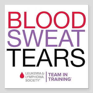 "blood.sweat_purp Square Car Magnet 3"" x 3"""