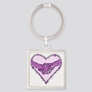 Watercolor Heart Square Keychain