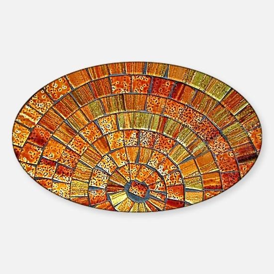 bali tile art brown 1 Sticker (Oval)