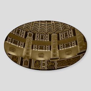 Temple Wall-sepia-M Sticker (Oval)