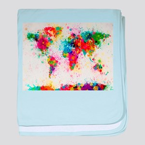 World Map Paint Splashes baby blanket